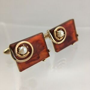 Red Lucite Acrylic Cufflinks Copper Tone Faux Pearl Modern Structural Vintage G1