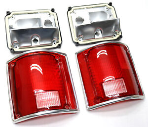 Taillight Lens & Housing Set w/Chrome Trim / FOR 73-87 Chevy Square Body Truck
