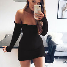 Women Ladies Sexy Knitted Sweater Jumper Dress Bodycon Knitwear Mini Dress