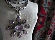 "💕 93g! 925 sterling silver full HM amethyst pendant 27"" long Byzantine necklace"