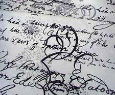 Stoff  Schrift Grafik Baumwollmischung Shabby Vintage Dekostoff   50 x140cm
