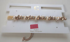 NEW Charming Charlie Faux Gold Pearls CZ Thin Off White Velvet Choker Necklace