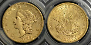 SS CENTRAL AMERICA 1856-S GOLD TWENTY DOLLARS, WITH A PINCH OF GOLD