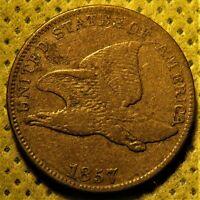 1857 Obverse of 1856 Flying Eagle Cent