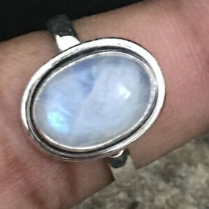 Natural Rainbow Moonstone 925 Sterling Silver Handmade Hallmark Ring Gift RS1235