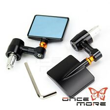 """Motorcycle Square 7/8"""" Handle Bar End Rear View Side Mirrors For Street Bikes"""