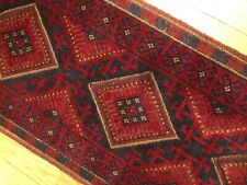 Handmade Afghan Tribal Mushvani Runner, Oriental Geometric 2x8 Rug, Red & Blue
