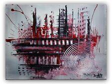 BURGSTALLER Acrylbilder Gemälde Silber Rot Schwarz handgemalt abstrakte Malerei