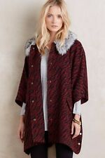 New Anthropologie Vieux Cape Coat Tracy Reese Poncho Faux Fur Neck Size L / XL