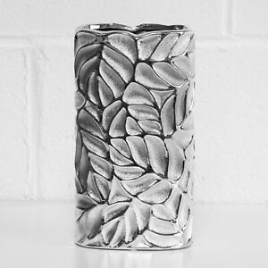 26cm Tall Silver Ceramic Vase Flower Pot Display Stand Leaves Floral Home Decor