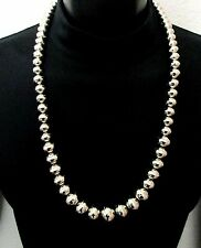 Silver Bead Necklace Navajo Pearls LONG Native American CASTILLO Handmade *260