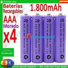 4 Pilas AAA Recargables ★ 1800mAh ★ Altísima Capacidad - 1,2 voltios ★ NOVEDAD