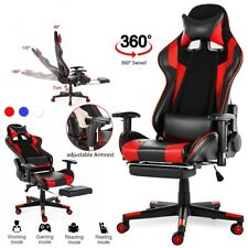 Gaming Armchair Office Chair Adjustable Footrest Leather Home Office Furniture