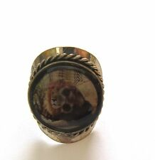 Spirit of Nature Ring Lion male silver color band browns green adjustable