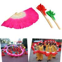 Colorful Silk Veil Folk Art Chinese Belly Dance Dancing Bamboo Short Rose Fan