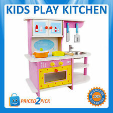 childrens kids pretend play wooden kitchen set toy toddlers cooking cookware