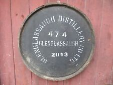 """2013 Glenglassaugh Whisky Barrel lid 23"""" wide Braced and ready to hang"""