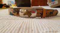 "YOUTH 28-32"" NOCONA HORSE DESIGN PAINTED TOOLED BONDED LEATHER BELT SZ 28,1.25""W"