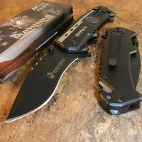 USMC Marines Semper Fi Spring Assisted Open Tactical Black Folding Pocket Knife