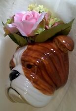 QUAIL CERAMIC BULLDOG BULL DOG WALL VASE OR POCKET - ANIMAL HEAD FIGURE OR MODEL