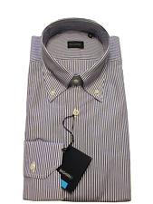 Camicia Uomo artigianale a righe blu e bianco collo button down 100% cotone