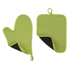 Oven Glove And Pot Holder Set Neoprene Lime Green Kitchen Tool New