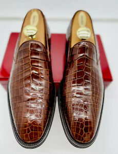 Mezlan Mens Shoes Brown 10 Loafers Genuine Crocodile Executive Luxury Slip On
