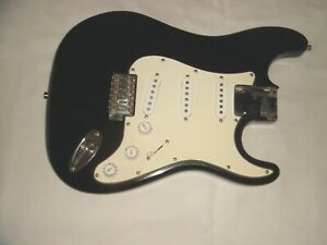 Fully loaded Black Burswood Stratocaster Guitar Body Spares Repair