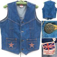 Vintage Buckle Back Denim Vest Brittania Sportswear Stars On Pockets XL 70s