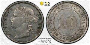 Straits Settlements QV silver 10 cents 1877 about uncirculated PCGS AU55