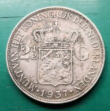 More details for 1937 wilhelmina netherlands two-and-a-half guilders silver coin
