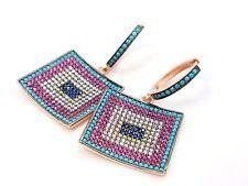 Turquoise Topaz 925 Evil Eye Rose 925 Sterling Silver Womens Earrings US Seller