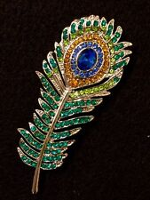 Rhinestone Peacock Feather Bird Crystal Brooch Gift Cake Pin Scarf Decoration#61