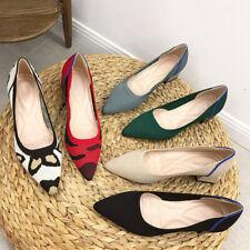 Pointy Knitting Fabric Chunky Heels Pumps Leopard Walking Princess Shoes Women