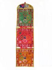 Tibetischer Wandbehang mit 3 Taschen - Doppel Dorje - Brokat - multicolor