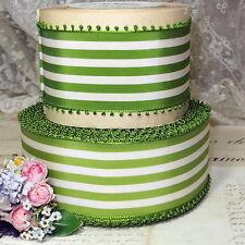 """1y Vtg 2 1/4"""" Apple Green Swiss Picot Rayon Taffeta Ribbon Trim Jacquard Stripe"""
