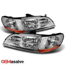 Fits 98-02 Honda Accord Amber Chrome Clear Headlights Headlamps Assembly Pair