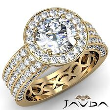 Round Diamond Engagement 3 Row Halo Pave Ring GIA H VS2 18k Yellow Gold 2.85ct