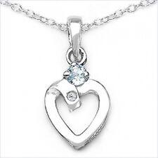 Collier mit Diamant/Blautopas/ Herz-Anhänger Rhodiniert