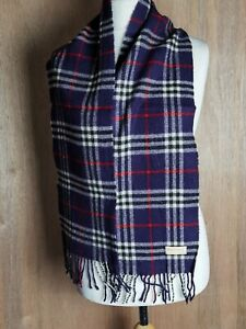 """Vtg Burberry London Scarf  purple classic check 100% Lambswool Authentic 54""""x8"""""""