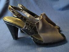 "VAN ELI Brown Sandal Open Toe Slingback 3"" Heel Fabric & Embossed Sz 6.5 M EUC"