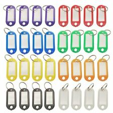 32x Multi-colors Plastic Key Fob ID Tags Luggage ID Labels with Split Ring H2H5