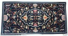 4'x2' Marble Dining Coffee Table Top Marquetry Floral Inlay Collectible H1612