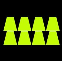 8 Fluorescent Lime-Yellow Fire Helmet Tetrahedrons Tets Firefighter