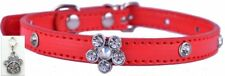 Red Bling Pet Collar - Flower Rhinestones - Small - FREE Charm included! dog cat
