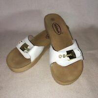 Dr Scholls Sandals Sz 7.5 White Suede Foot NOT WOOD