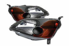 01-03 Honda Civic 2 Door ES EM JDM Black Headlights w/Amber Reflector EX LX DX