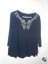 New with Tags Sonoma Women's XL Blue Multi Color Floral Neck Blouse Shirt Top