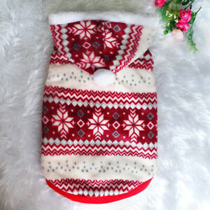 Christmas Dog Coats Winter Clothes Warm Fleece Lined Pet Puppy Hoodie Jackets