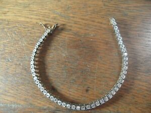 A4-11 Estate vintage sterling silver tennis bracelet with glass stones 7""